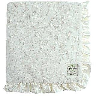 My Blankee Luxe Bella Blanket with Ruffle Border, Cream, 30