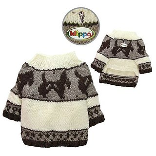 Hand Knitted Dog Sweater with Brown Doggies and Pattern Desgin - M