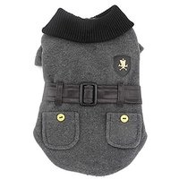 SMALLLEE_LUCKY_STORE Pet Clothes For Small Dog Cat Woolen Winter Coat Jacket With Faux Leather Belt Fall Clothing Grey M