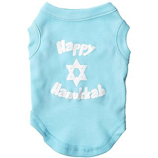 Mirage Pet Products 10-Inch Happy Hanukkah Screen Print Shirts for Pets, Small, Aqua