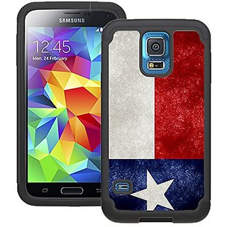CorpCase Samsung Galaxy S5 Case - Texas flag grunge distressed/ Hybrid Unique Case With Great Protection