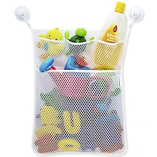 ETTG Bath Toy Organizer Mesh Net Toy Storage Bag For Baby Boys Girls With Two Suction Cups, Multiple Pockets