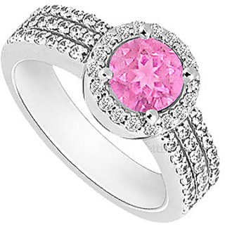 Admirable Pink Sapphire And Cubic Zirconia Halo Engagement Rings In 14K White Gold