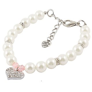 Uxcell Faux Pearl Linked Heart Pendant Pet Dog Collar Necklace, Small, White