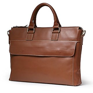Teemzone Mens Womens Auth Real Leather Messenger Laptop Briefcase Satchel Mens Bag (Brown)
