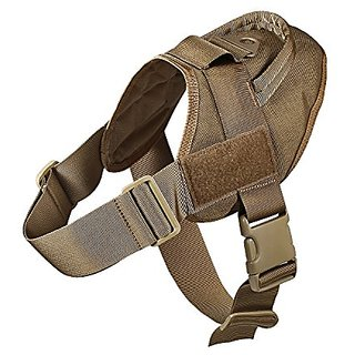 Feliscanis Tactical Dog Training Patrol Harness Nylon Adjustable Service dog vest IN TRAINING Velcro Patches Brown Size