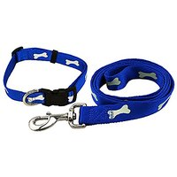 SanHoo Durable Nylon Dog Leash & Collar Set - Reflective With Glow In The Dark Bone Print For Night Time Safety & Visibi