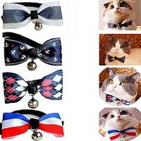 BroBear Adjustable Cats/Small Dogs Bow Tie Collar With Bell Set Of 4 (A)