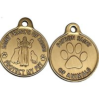 Saint Francis Of Assisi Patron Saint Of Pets / Protect My Pet Bronze Dog Cat Tag Charm