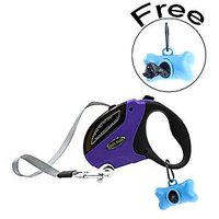 The Auto Retractable Dog Leashes With Free Dog Poop Bags Bone Dispenser, Dog Waste Bags (5m/16ft,M, Purple)