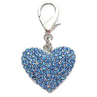 Pet Premium Rhinestones On Heart Charm Pendant For Pet Dog Necklace Jewelry (Blue)