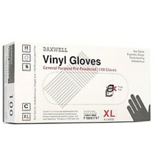 Daxwell F10001747 Vinyl General Purpose Glove, Powdered, X-Large, Clear (10 Boxes of 100 Gloves)