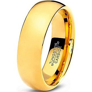 Tungsten Wedding Band Ring 7mm for Men Women Comfort Fit 18K Yellow Gold Plated Domed Polished Size 10.5