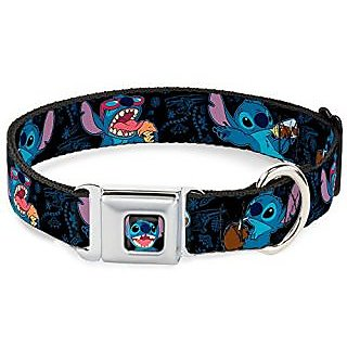 Disney Stitch snacking poses Black/Blue Seatbelt Buckle Clip Dog Collar 1.0