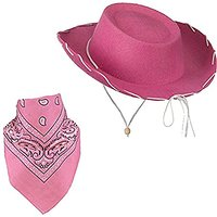 Pink Children Felt Cowboy Hat With White Cord Lacing & Pink Paisley Bandanna