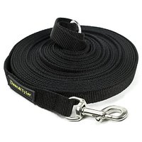 Dean & Tyler Track Single Ply Black Nylon 100-Feet By 3/4-Inch Dog Leash With A Ring On Handle And Stainless Steel Snap