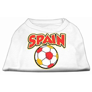 Mirage Pet Products Spain Soccer Screen Print Shirt,, White 4x