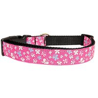 Mirage Pet Products Butterfly Nylon Ribbon Collar, Medium, Pink