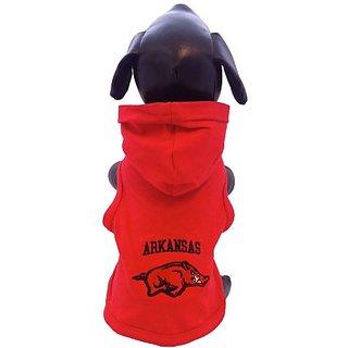 NCAA Arkansas Razorbacks Collegiate Cotton Lycra Hooded Dog Shirt (Team Color, X-Large)