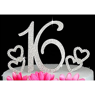 Birthday Crystal Cake Toppers Sparkling Bling 16th With Hearts