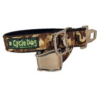 Cycle Dog Bottle Opener Recycled Dog Collar With Seatbelt Metal Buckle, Brown Camo, Large