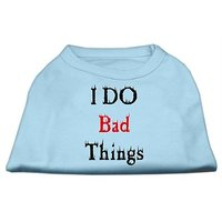 Mirage Pet Products 14-Inch I Do Bad Things Screen Print Shirts For Pets, Large, Baby Blue