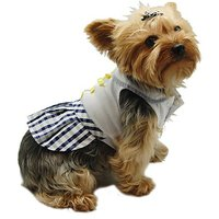 Anima Blue And White Dress With Checkered Skirt And Yellow Bows For Dogs, Small