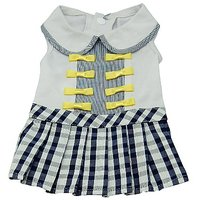 Anima Blue And White Dress With Checkered Skirt And Yellow Bows For Dogs, Large