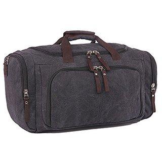 Violet Mist Vintage Large Canvas Travel Tote Luggage Bag Weekend Duffel Handbags (Black)