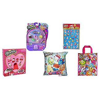 Shopkins Sweet Heart Collection, Season 5 5 Pack, Shopkin Sticker, Pillow & Tote Bundle