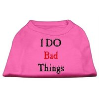 Mirage Pet Products 14-Inch I Do Bad Things Screen Print Shirts For Pets, Large, Bright Pink