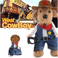 Idepet(TM) Pet Dog Cat Costume West CowBoy Uniform With Hat Funny Pet Cowboy Outfit Clothing (3)