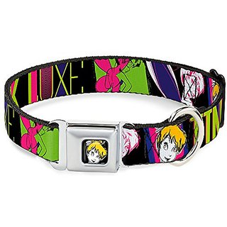 Disney TINK LUXE Sketch Black Neon Buckle Clip Dog Collar, 1.5