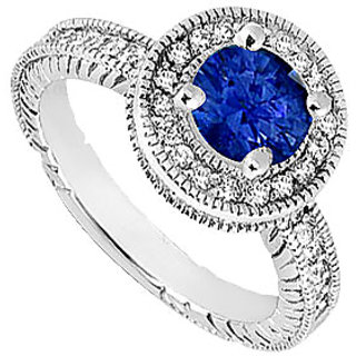 New Sapphire And Cubic Zirconia Halo Engagement Rings In 14K White Gold
