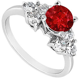 Dazzling Ruby Engagement Ring With Three Stone Cluster CZ In 14K White Gold