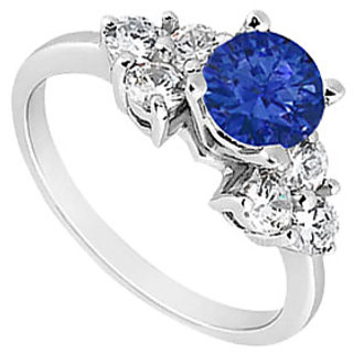 Symmetrical Sapphire Engagement Ring With Three Stone Cluster CZ In 14K White Gold
