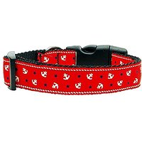 Mirage Pet Products Anchors Nylon Ribbon Collar For Pets, Large, Red