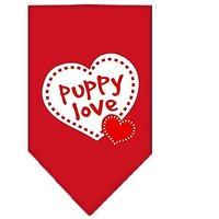 Mirage Pet Products Puppy Love Screen Print Bandana, Small, Red