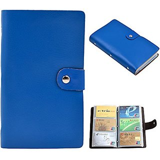 Prime Clearance Sale Day 2016 90 Card Pockets Soft Leather Business Name Card Holder Credit Card Holder Wallet (Blue)
