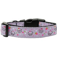 Mirage Pet Products Cupcakes Nylon Ribbon Collar For Pets, Medium, Purple