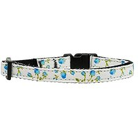 Mirage Pet Products Roses Nylon Ribbon Collar For Cat, Blue