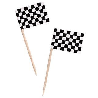 Dress My Cupcake Cupcake Toppers and Picks, Black and White Racing Checkered Flags, Case of 600