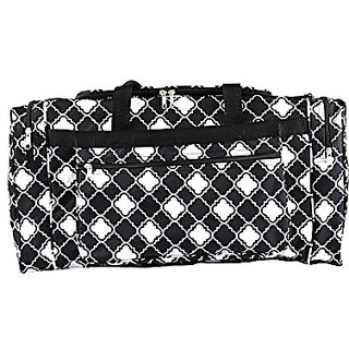 D22 Small Quatrefoil Pattern Gym Dance Cheer Duffel Bag (21in) Black/white