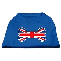 Mirage Pet Products 8-Inch Bone Shaped United Kingdom Union Jack Flag Screen Print Shirts For Pets, X-Small, Blue