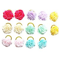 PET SHOW Rose Flower Small Pet Cat Puppy Dog Hair Bows With Rubber Bands Grooming Hair Accessories Color Assorted Pack O
