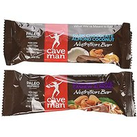 Caveman Nutrition Bars 10 Dark Chocolate Cashew Almond Bars And 10 Dark Chocolate Almond Coconut Bars. Gluten Free, No P