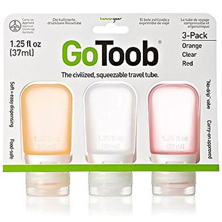 Gotoob 1.25 Ounce 3 Pack Travel Bottle, Clr/Ornge/Red