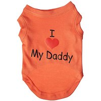 Mirage Pet Products 10-Inch I Love My Daddy Screen Print Shirts For Pets, Small, Orange