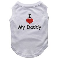 Mirage Pet Products 12-Inch I Love My Daddy Screen Print Shirts For Pets, Medium, White