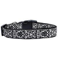 Mirage Pet Products Fancy Nylon Ribbon Dog Collar, Medium, Black/White